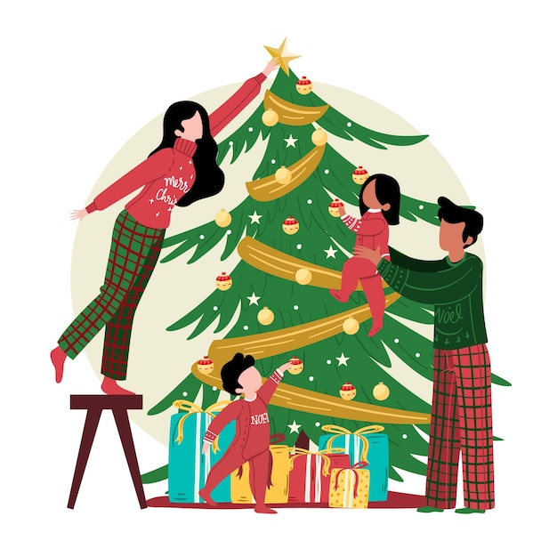 Christmas tree decoration with family Free Vector