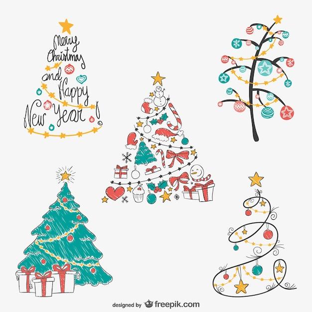 Christmas Tree Drawings Pack Vector Free Download
