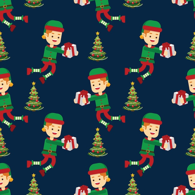 Christmas tree and elf with candy cane seamless pattern Premium Vector