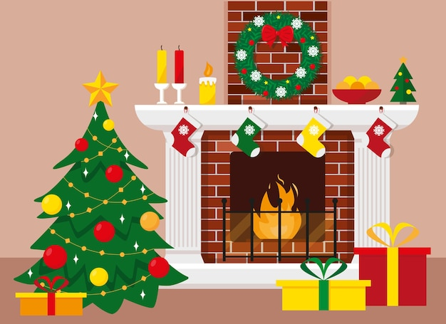 Christmas tree and fireplace with wreath, candles, decoration and gifts in boxes.  illustration for christmas and new year . Premium Vector