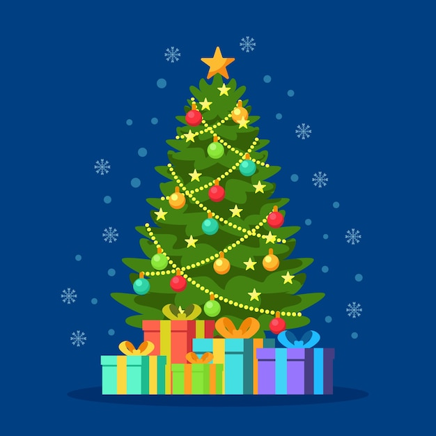 Christmas tree in flat design Free Vector