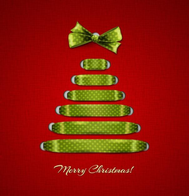 Рождественская елка из фона красной ленты. Premium векторы