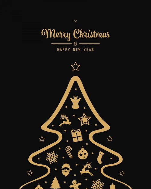 christmas tree gold elements black background 1156 1419