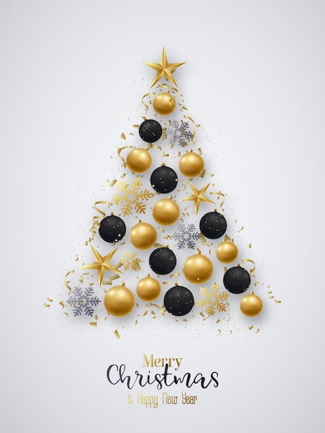 Christmas tree. greeting card. Premium Vector