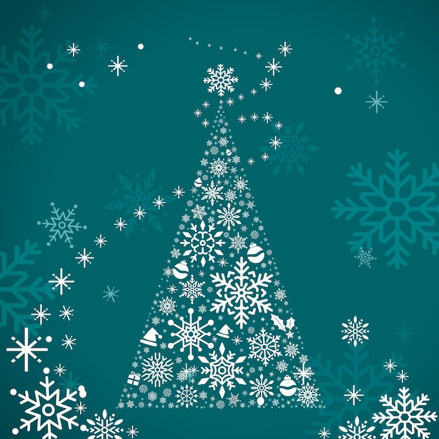 Christmas tree holiday design background vector Free Vector
