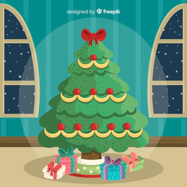 Christmas tree at home Free Vector