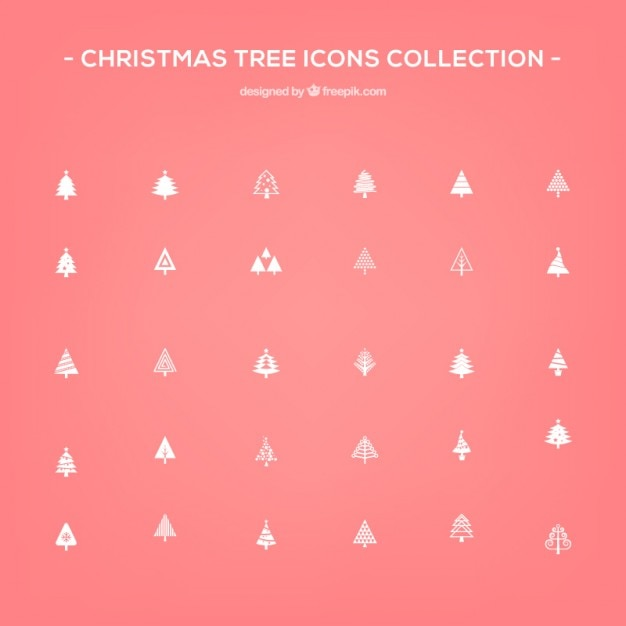 Christmas tree icons Free Vector