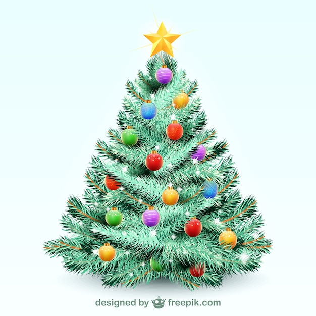 Christmas tree illustration vector Free Vector