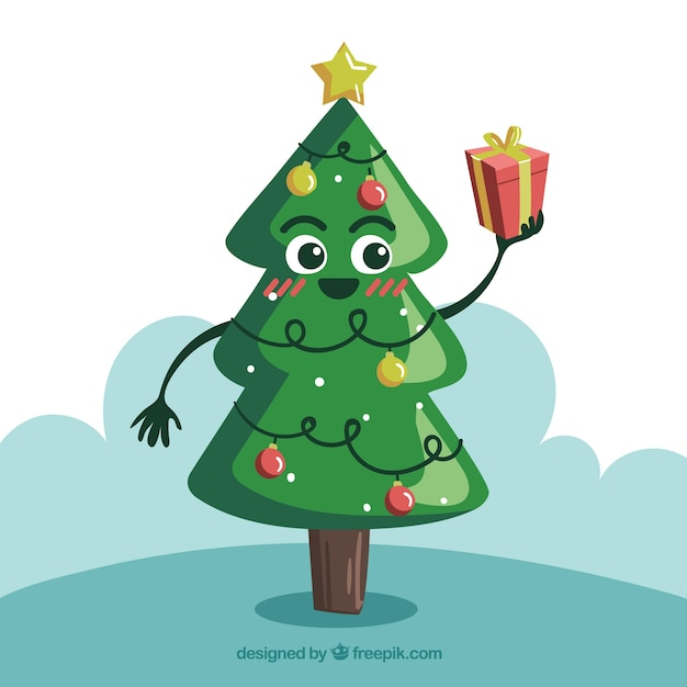 Christmas tree in cartoon style holding a gift box