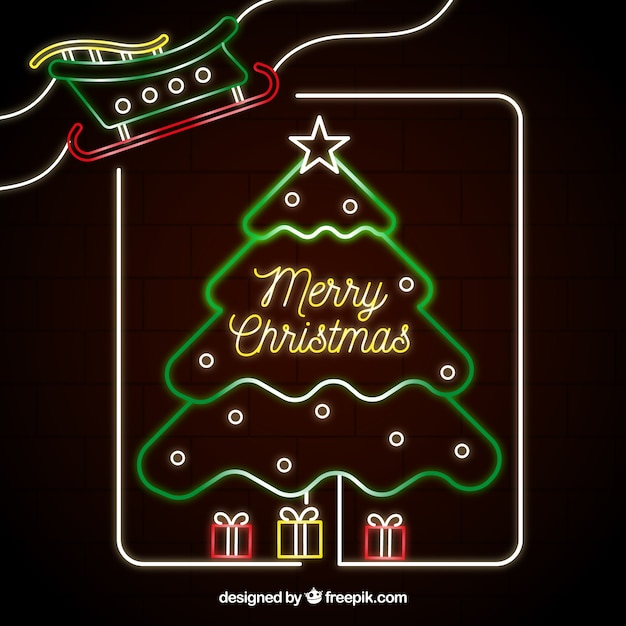 christmas tree in neon lights free vector