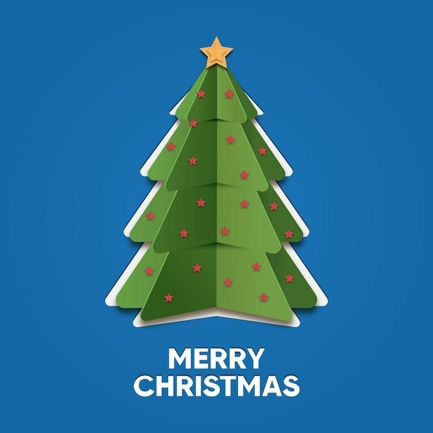 紙のスタイルのクリスマスツリー 無料ベクター