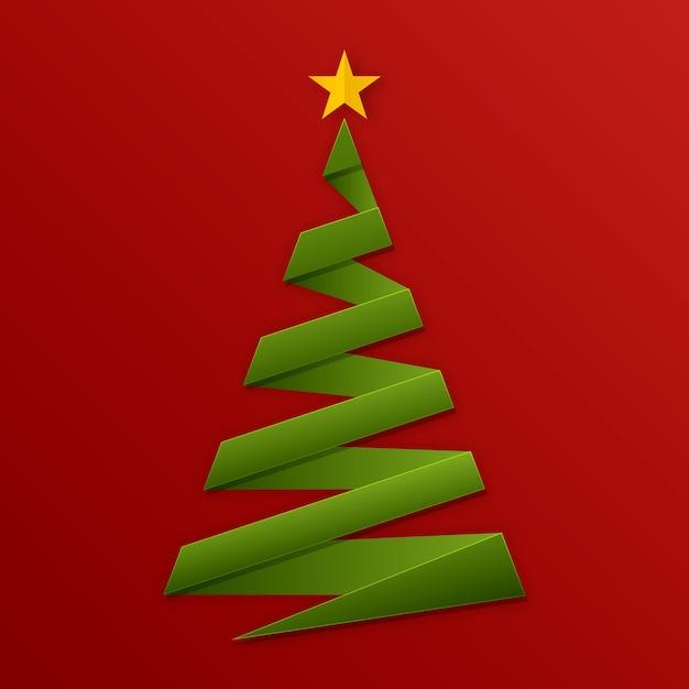 Новогодняя елка в бумажном стиле Premium векторы