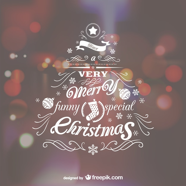 Christmas tree lettering Free Vector