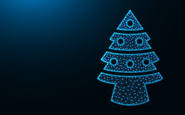 Christmas tree low poly design, spruce with toys abstract geometric image, wireframe mesh polygonal vector illustration made from points and lines Premium Vector