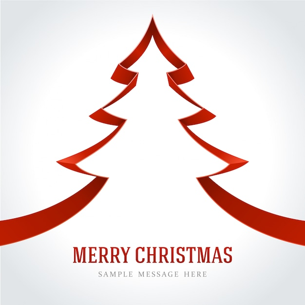 Christmas Tree With Red Ribbon: Christmas Tree Made By Red Ribbon Vector