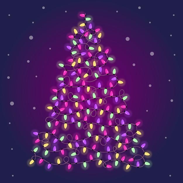 Christmas tree made of colorful light bulbs Free Vector