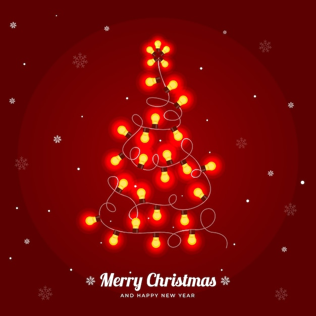 Christmas tree made of light bulbs illustration Free Vector