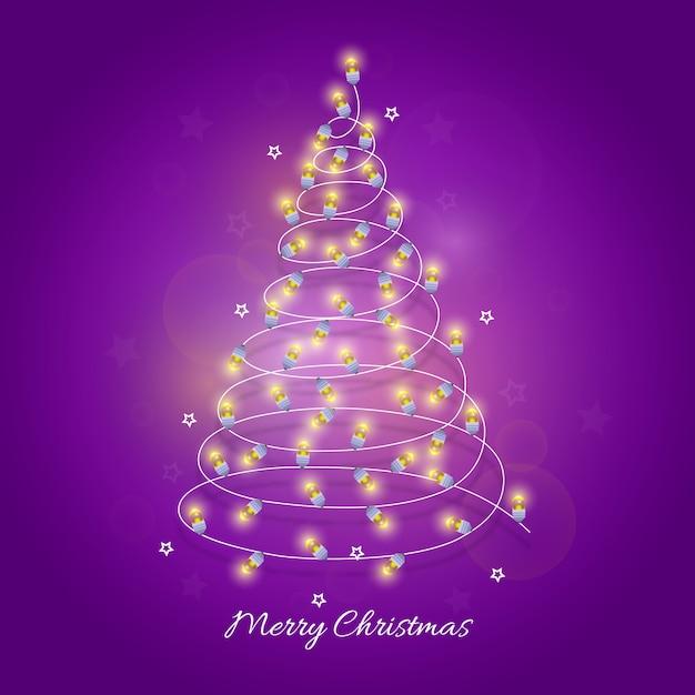 Christmas tree made of light bulbs Free Vector