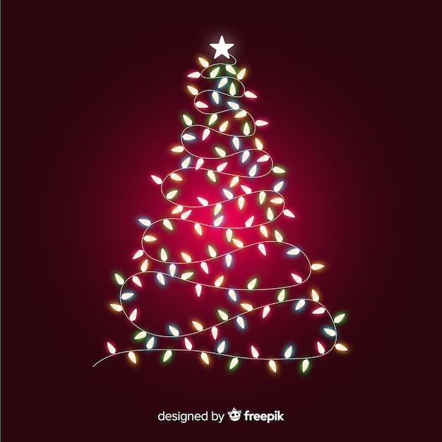 Christmas tree made of light garland Free Vector