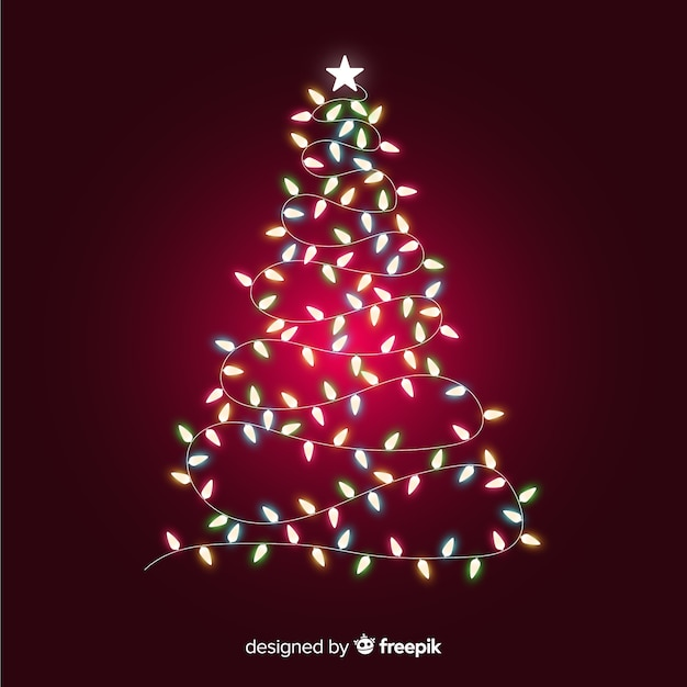 Christmas tree made of light garland Free Vector