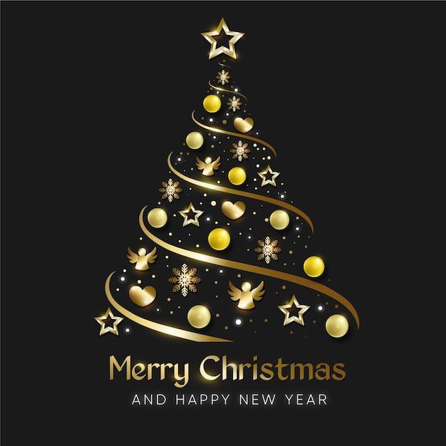 リアルな金色の装飾で作られたクリスマスツリー 無料ベクター