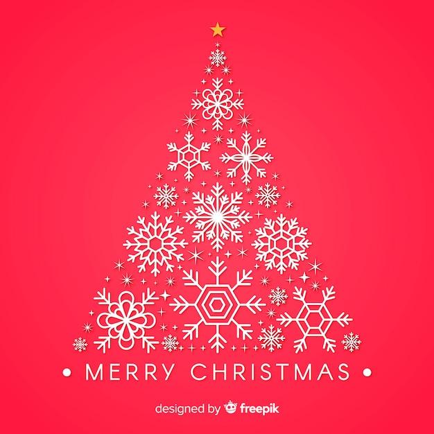 Новогодняя елка из снежинок Бесплатные векторы