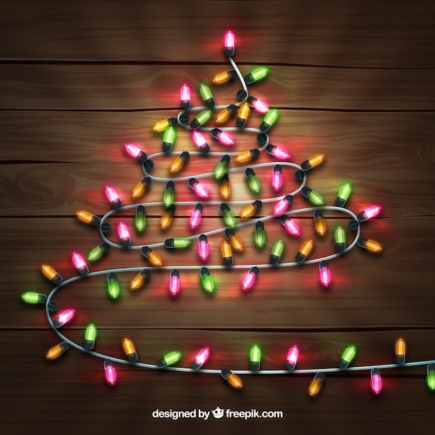 Christmas tree made out of christmas\ lights