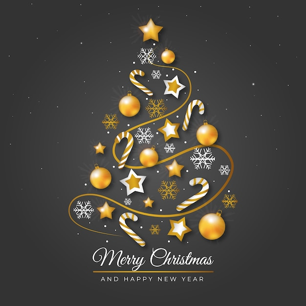 Christmas tree made of realistic golden decoration illustration Free Vector