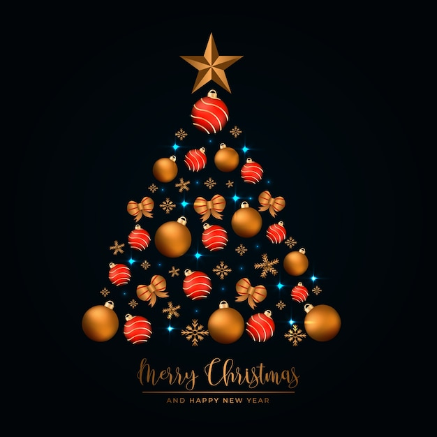 Christmas tree made of realistic golden decoration Free Vector
