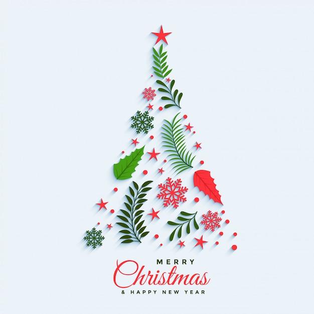 装飾的な要素で作られたクリスマスツリー 無料ベクター