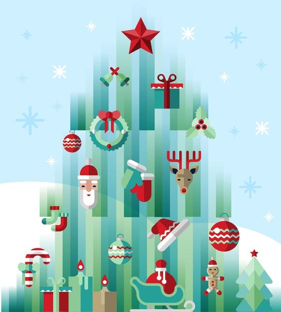 Christmas tree modern illustration Free Vector
