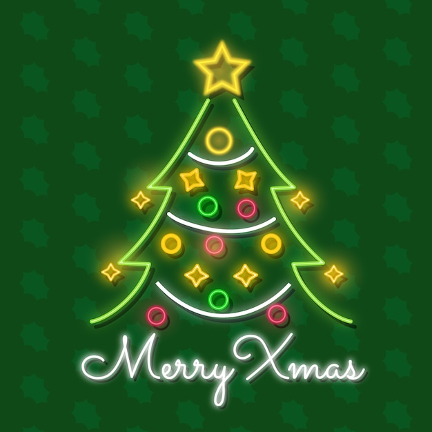 Christmas tree in neon Free Vector