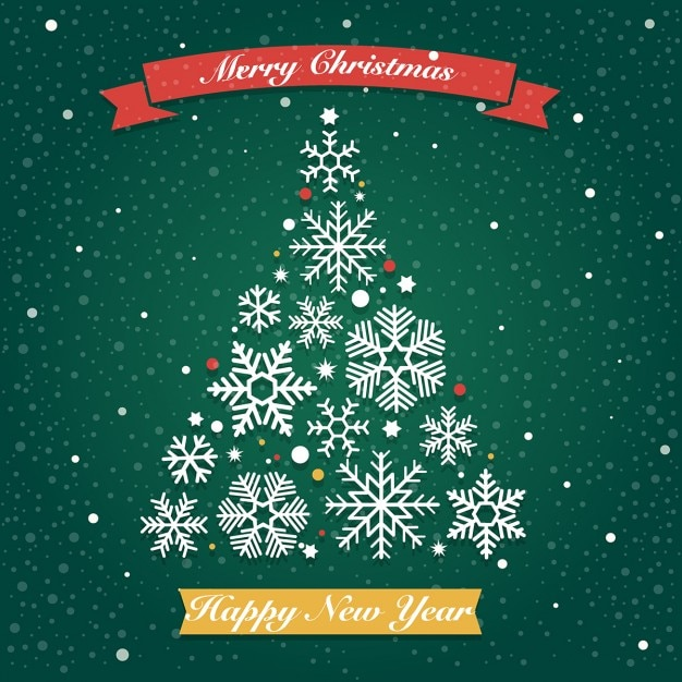 Christmas tree on a green background Free Vector