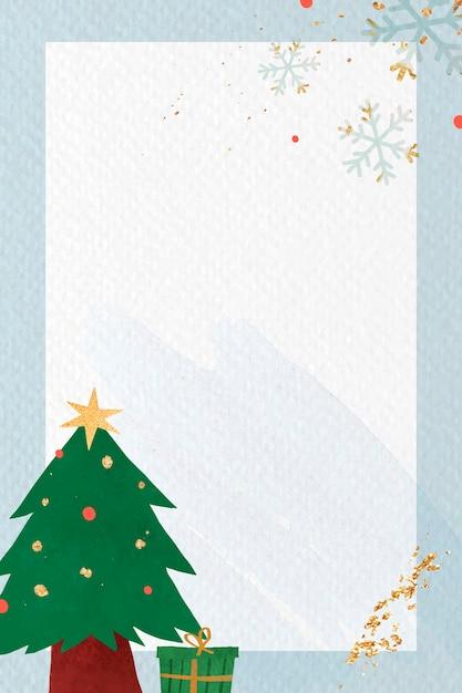 青い背景の上のクリスマスツリー 無料ベクター