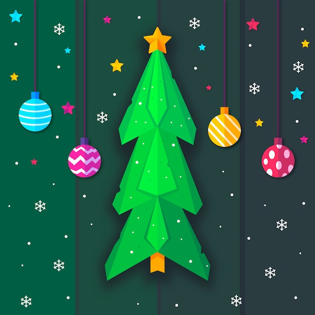 Christmas tree in paper style and hanging christmas balls Free Vector