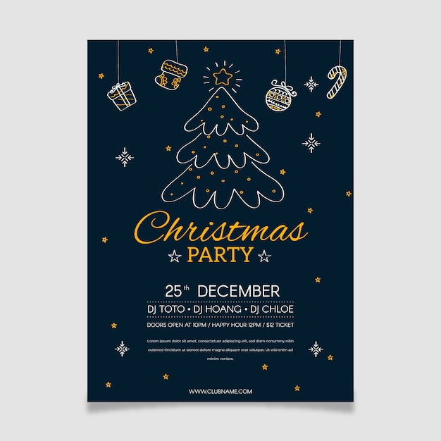 Christmas tree party poster in outline style Free Vector