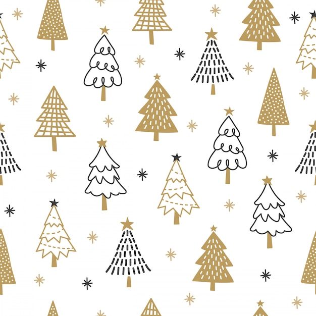 Christmas tree pattern background. Vector | Premium Download