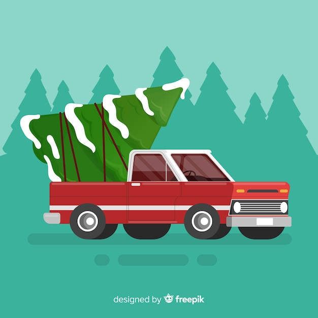 Free Christmas Tree Pick Up: Christmas Tree On Pick-up Truck Vector