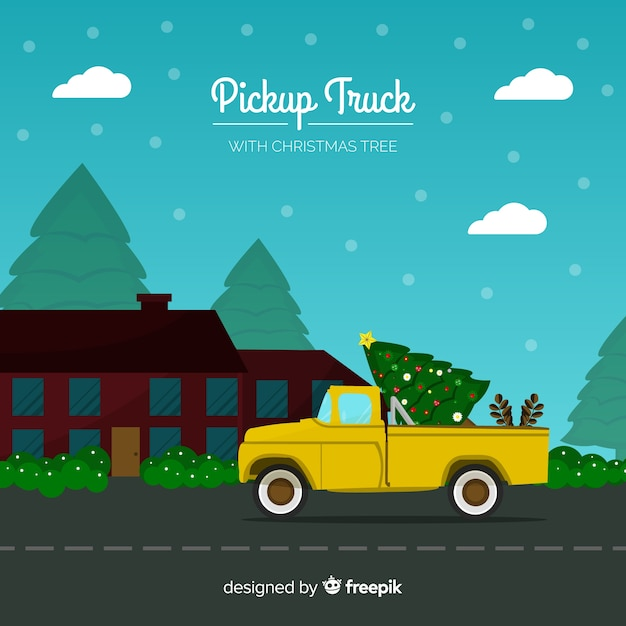 Free Christmas Tree Pick Up: Christmas Tree On A Pickup Truck Vector