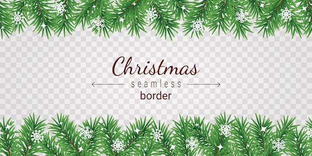 Christmas tree seamless border on transparent background - garland from green spruce branches and white snowflakes. Premium Vector