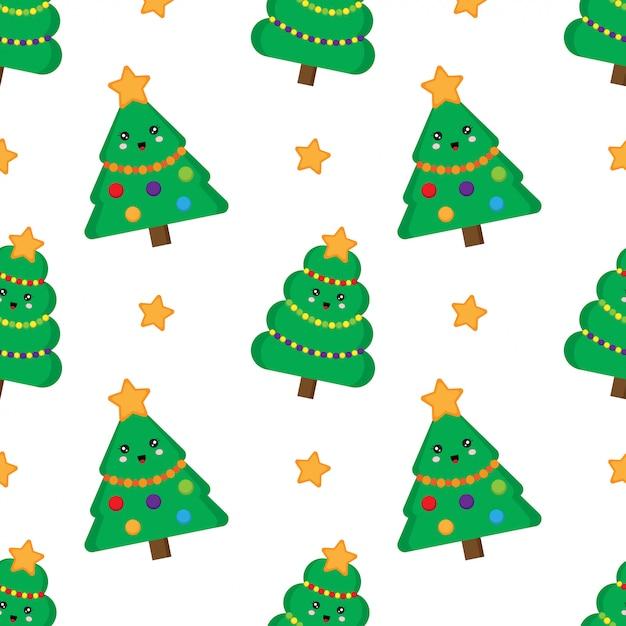 Christmas tree seamless pattern. cute kawaii fur trees. Premium Vector