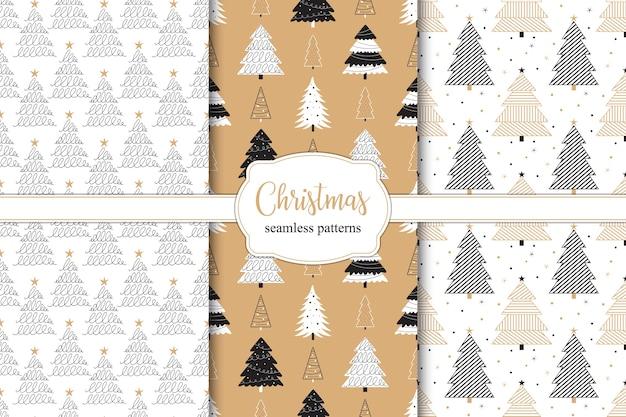 Christmas tree seamless pattern Premium Vector