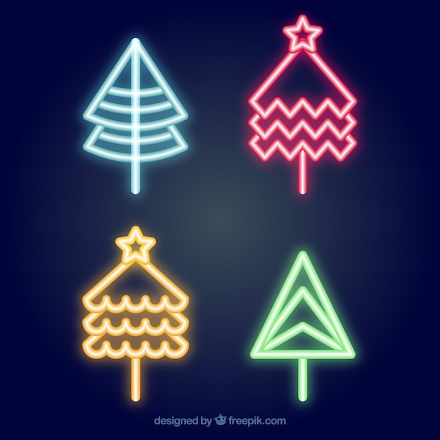 Christmas tree set of neon colors