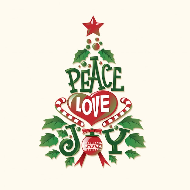 Premium Vector Christmas Tree Shape With Quote And Unique Lettering For Greeting Card And Decoration