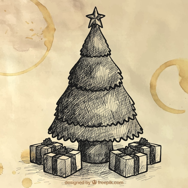 Christmas Tree Sketch Background And Gifts Vector | Free Download
