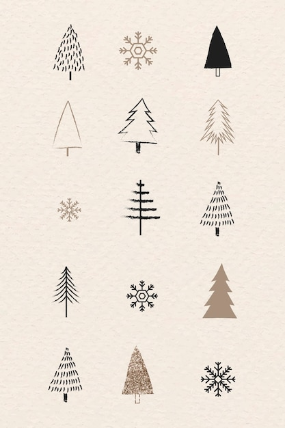 Christmas tree and snowflakes collection in doodle style Free Vector
