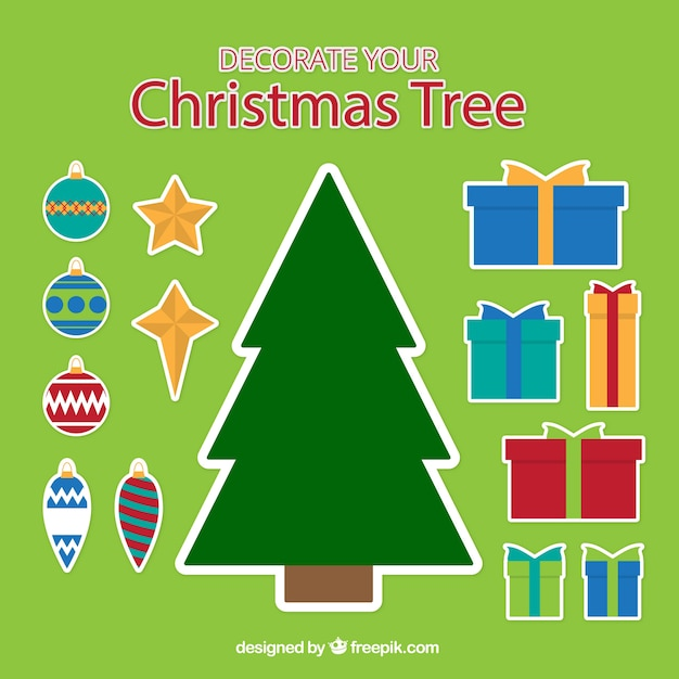Christmas tree stickers with gifts and\ ornaments