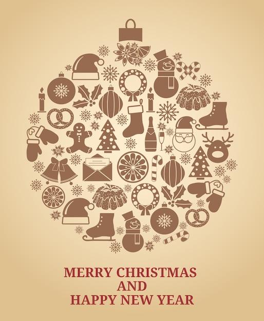 Символ рождественской елки в винтажном стиле с рождественскими иконами векторные иллюстрации Бесплатные векторы