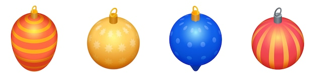 Christmas tree toys icons set, isometric style Premium Vector
