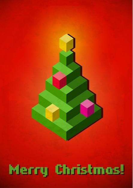 Christmas tree vintage card made of 3d pixels Premium Vector